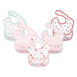 Hudson Baby 5-Pack Waterproof Ice Cream Bibs with Crumb Catcher Pocket in Pink