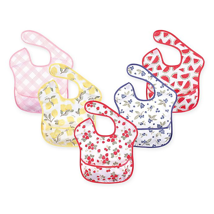 Alternate image 1 for Hudson Baby 5-Pack Waterproof Strawberry Bibs with Crumb Catcher Pocket in Pink
