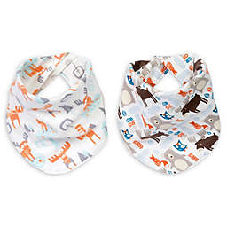 Trend Lab® Scandi Moose 2-Pack Reversible Flannel Bandana Bib Set