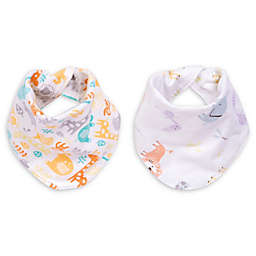 Trend Lab® 2-Pack Mint Jungle Reversible Bandana Bib Set