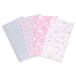 Trend Lab Deluxe 4-Piece Unicorn Rainbow Flannel Burp Cloths