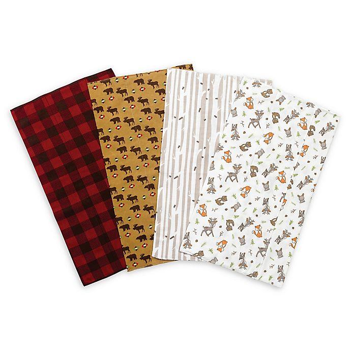Alternate image 1 for Trend Lab® 4-Pack Northwoods Flannel Burp Cloth Set
