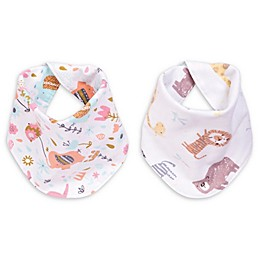 Trend Lab® Elephant Jungle 2-Pack Reversible Flannel Bandana Bib Set