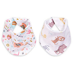 Trend Lab® Elephant Jungle 2-Pack Reversible Flannel Bandana Bib Set