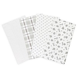 Trend Lab® Safari Chevron 4-Pack Flannel Burp Cloth Set in Grey and White