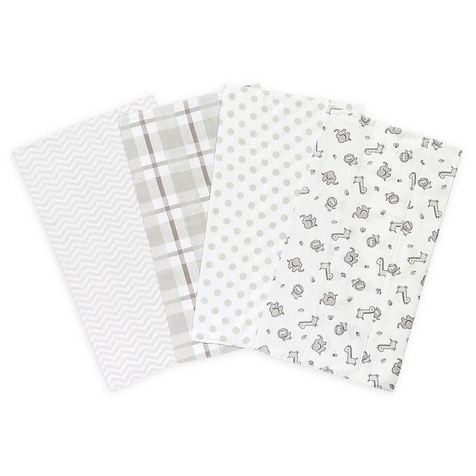 Alternate image 1 for Trend Lab® Safari Chevron 4-Pack Flannel Burp Cloth Set in Grey and White