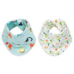 Trend Lab® Dinosaur 2-Pack Reversible Flannel Bandana Bib Set
