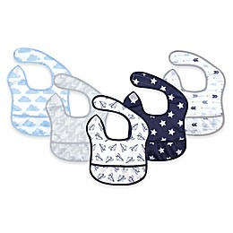 Hudson Baby 5-Pack Beginner Bibs with Crumb Catcher Pocket