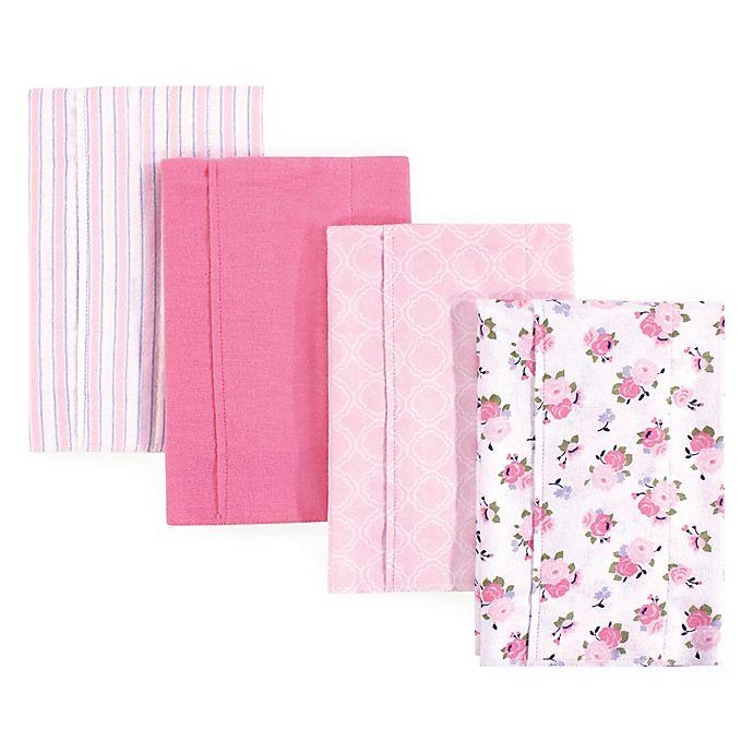 Alternate image 1 for Hudson Baby 4-Pack Garden Burp Cloth Set in Pink