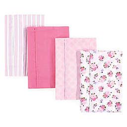 Hudson Baby 4-Pack Garden Burp Cloth Set in Pink