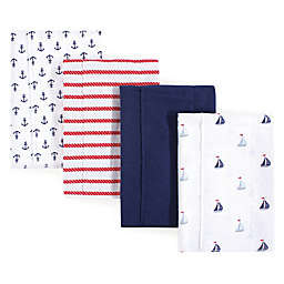 Hudson Baby 4-Pack Sailboat Burp Cloth Set in Blue