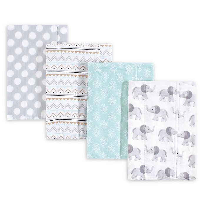 Alternate image 1 for Hudson Baby 4-Pack Burp Cloth Set