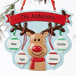 Reindeer Family Personalized Ornament- 4 Name