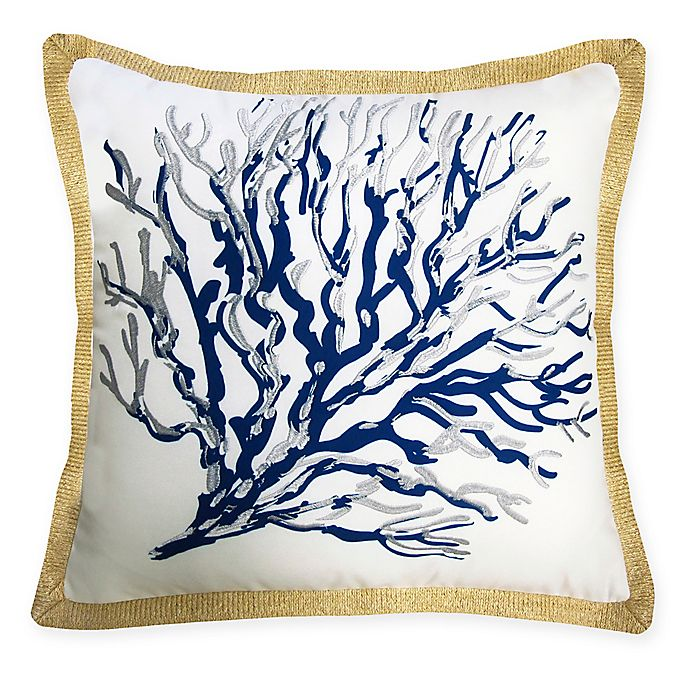 Alternate image 1 for The New York Botanical Garden Seafan Indoor/Outdoor Square Throw Pillow in Blue