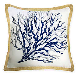 The New York Botanical Garden Seafan Indoor/Outdoor Square Throw Pillow in Blue