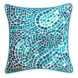 New York Botanical Garden Mosaic Indoor/Outdoor Square Throw Pillow in Blue