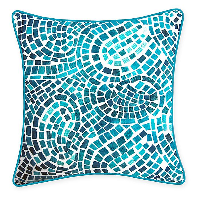 Alternate image 1 for New York Botanical Garden Mosaic Indoor/Outdoor Square Throw Pillow in Blue