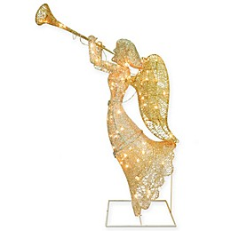 National Tree Company 48-Inch Pre-Lit Angel Lawn Christmas Decoration in Gold