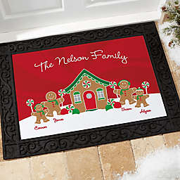 Gingerbread Family Personalized Doormat