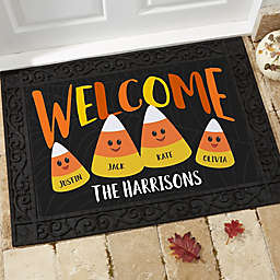 Candy Corn Family Personalized Doormat