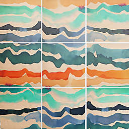 Deny Designs 9-Piece Beach Waves Square Wall Art in Blue