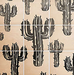 Deny Designs 9-Piece Cactus Party Square Wood Wall Art in Black