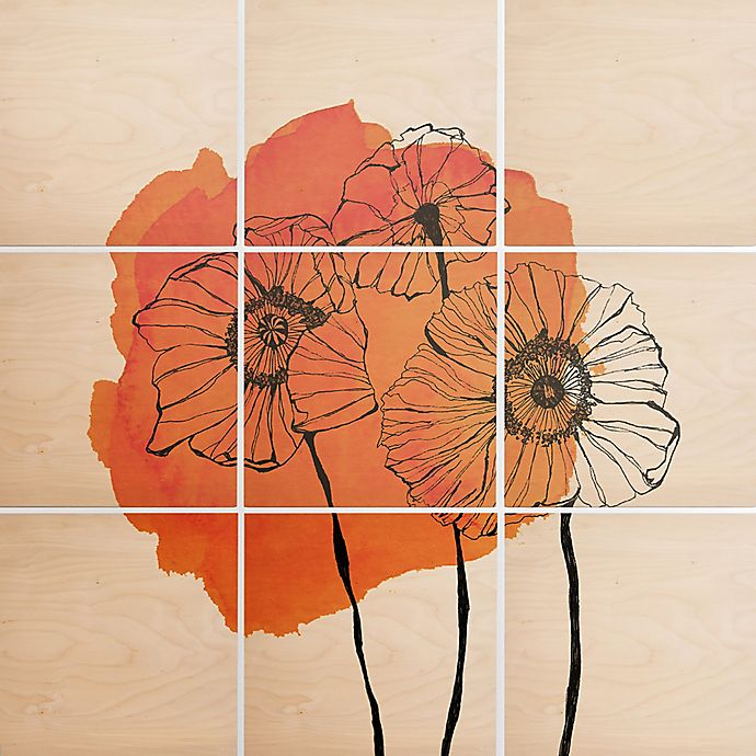 Alternate image 1 for Deny Designs 9-Piece Orange Poppies Square Wall Art in Black