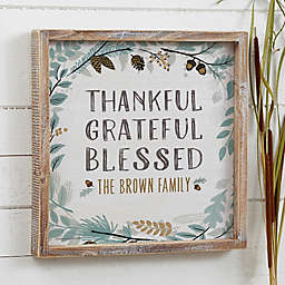 Thankful Fall Floral Personalized Barnwood Sign