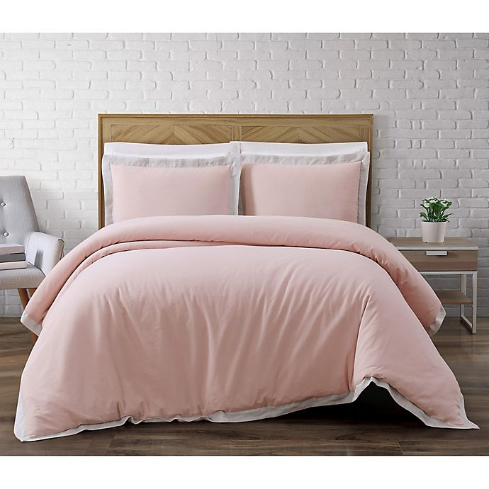 Alternate image 1 for Brooklyn Loom Wilson Reversible King Duvet Cover Set in Pink