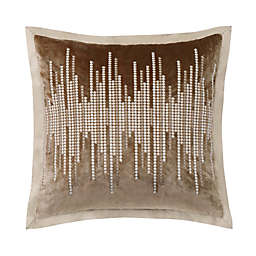 Charisma Paloma Velvet Embellished Square Throw Pillow in Gold