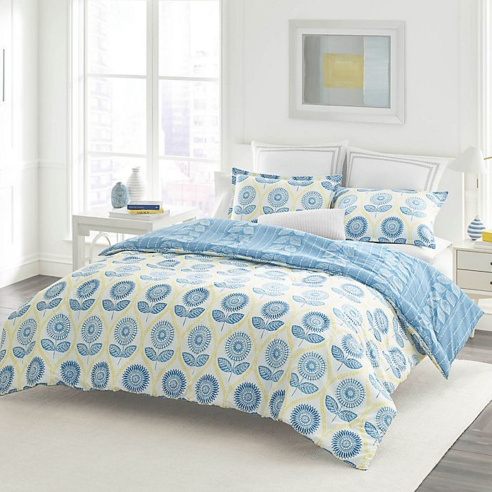 Alternate image 1 for Laura Ashley® Sunflower Twin Duvet Set in Blue