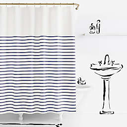 kate spade new york 72-Inch x 72-Inch Harbour Stripe Shower Curtain in Navy