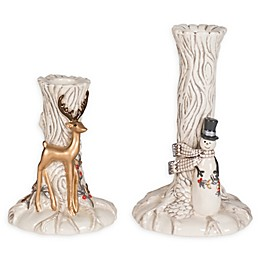 Fitz and Floyd® Wintry Woods Snowman Candle Holders (Set of 2)