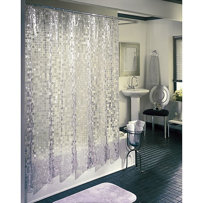 Alternate image 1 for Disco Shower Curtain in Silver