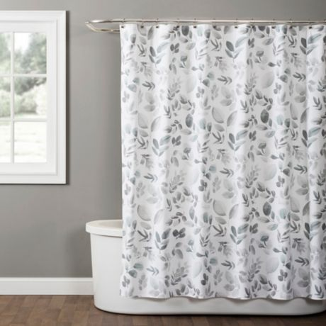Windsor Leaves Shower Curtain In Grey Bed Bath Amp Beyond