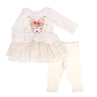 Nannette Baby® 2-Piece Reindeer Dress and Legging Set in Ivory