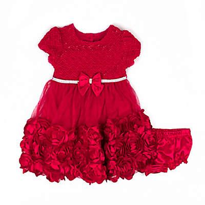 Nannette Baby® Rhinestone Rosette Dress in Red