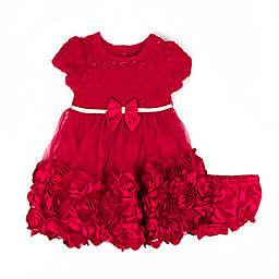 Nannette Baby® Rhinestone Rosette Dress in Red