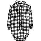 Oshkosh B'gosh® Size 3-6M Checkered Flannel Bodysuit in Black/White