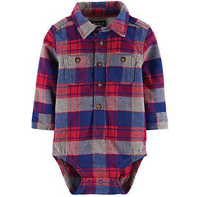 Oshkosh B'gosh® Plaid Flannel Bodysuit in Red/Blue
