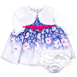 Nannette Baby 2-Piece Floral Dress with Cardigan in Blue
