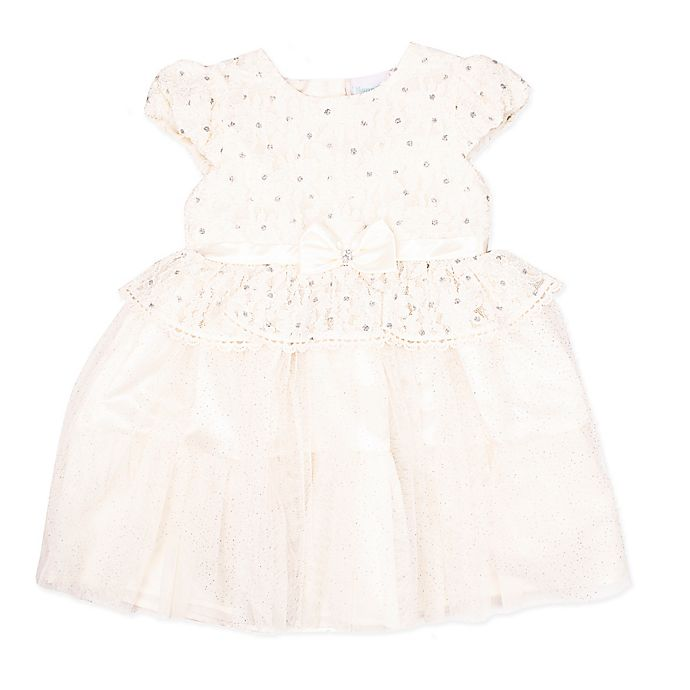 Alternate image 1 for Nanette Baby® Size 18M Metallic Lace Dress in Ivory