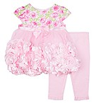 Nannette Baby® Size 6-9M 2-Piece Floral Print Roses Dress and Legging Set in Pink