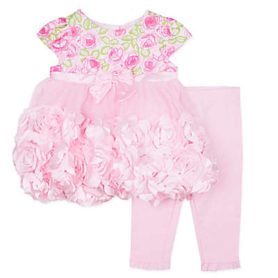 Nannette Baby® 2-Piece Floral Print Roses Dress and Legging Set in Pink