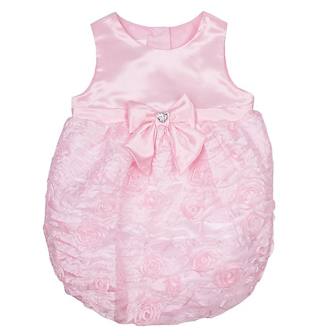Alternate image 1 for Nanette Baby® Size 6-9M Satin Ribbon Bubble Romper in Pink
