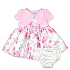Nannette Baby® Size 3-6M 2-Piece Shrug Floral Dress and Panty Set in Pink