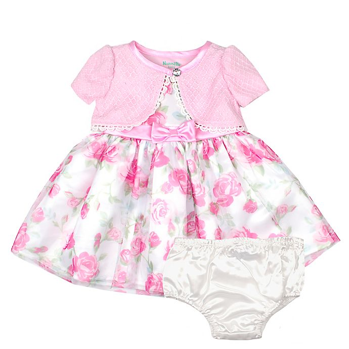 Alternate image 1 for Nannette Baby® 2-Piece Shrug Floral Dress and Panty Set in Pink