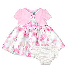 Nannette Baby® 2-Piece Shrug Floral Dress and Panty Set in Pink
