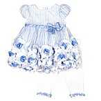 Nannette Baby® Size 0-3M 2-Piece Striped Print Roses Dress and Legging Set in Blue