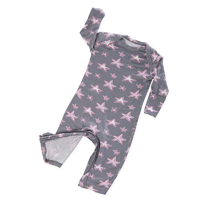 Alternate image 1 for Gunamuna Zip-Up Star Pajama in Grey/Pink